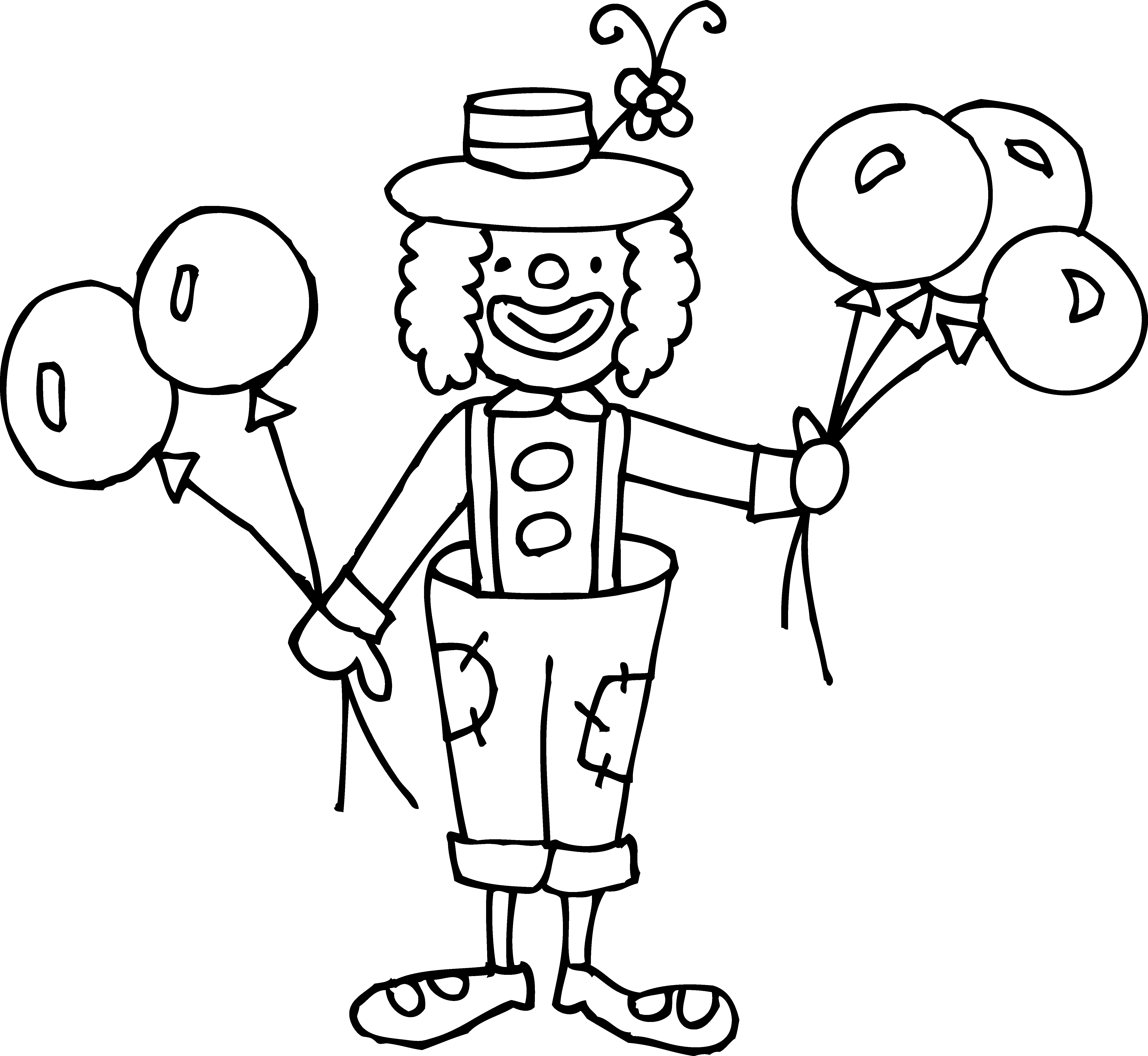 5531x5087 Magnificent Black And White Clown Clip Art With Clown Coloring
