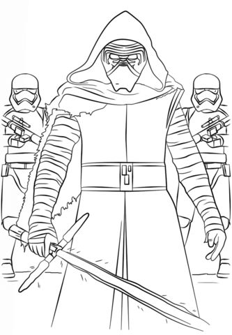 333x480 Kylo Ren Force Awakens Free Coloring Page Adults, Kids, Movies