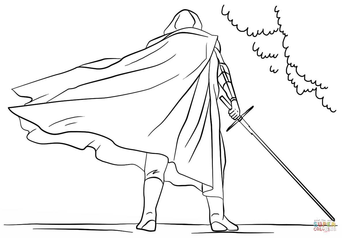 1186x824 Kylo Ren With Lightsaber Coloring Page Free Printable Coloring Pages