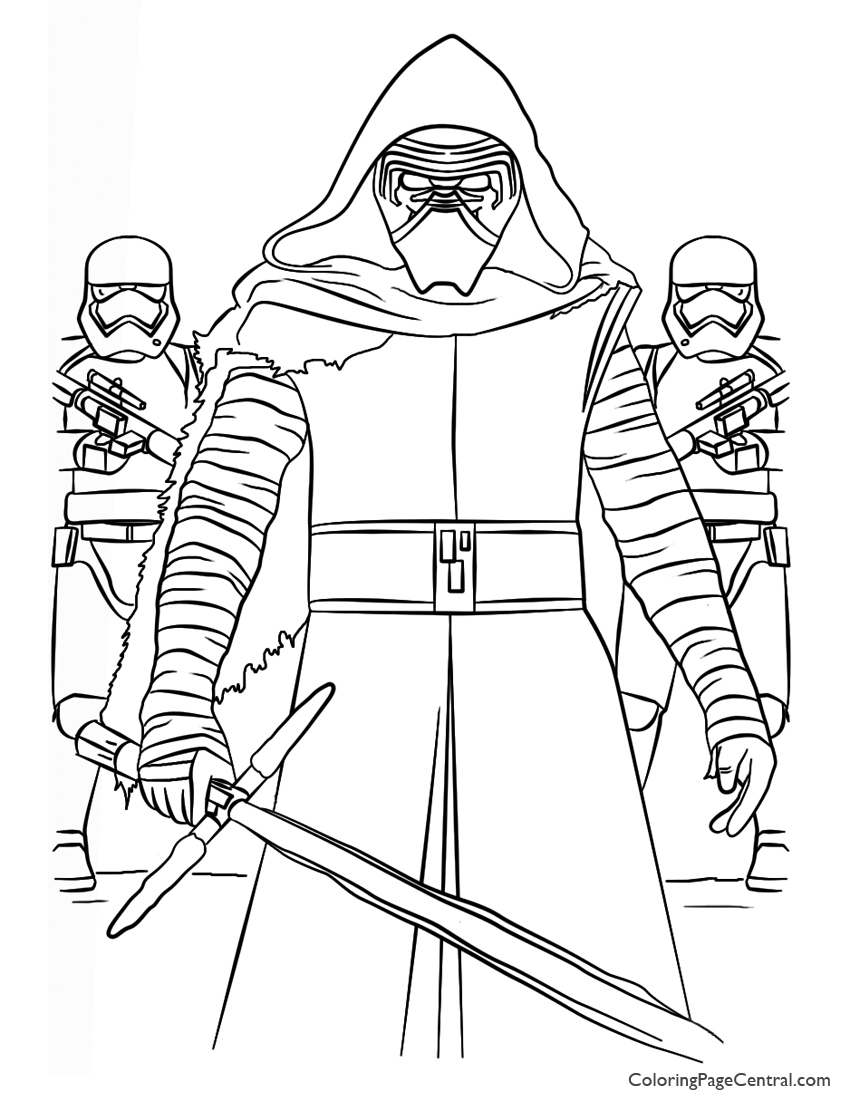 850x1100 Star Wars Kylo Ren And First Order Coloring Page Coloring Page