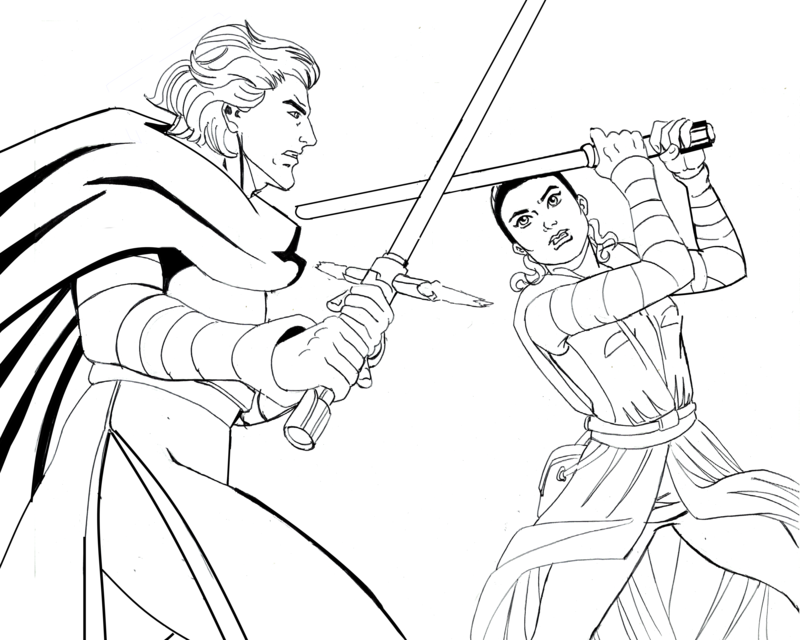 800x640 Star Wars The Force Awakens Kylo Ren Vs Rey By Dmtr1981