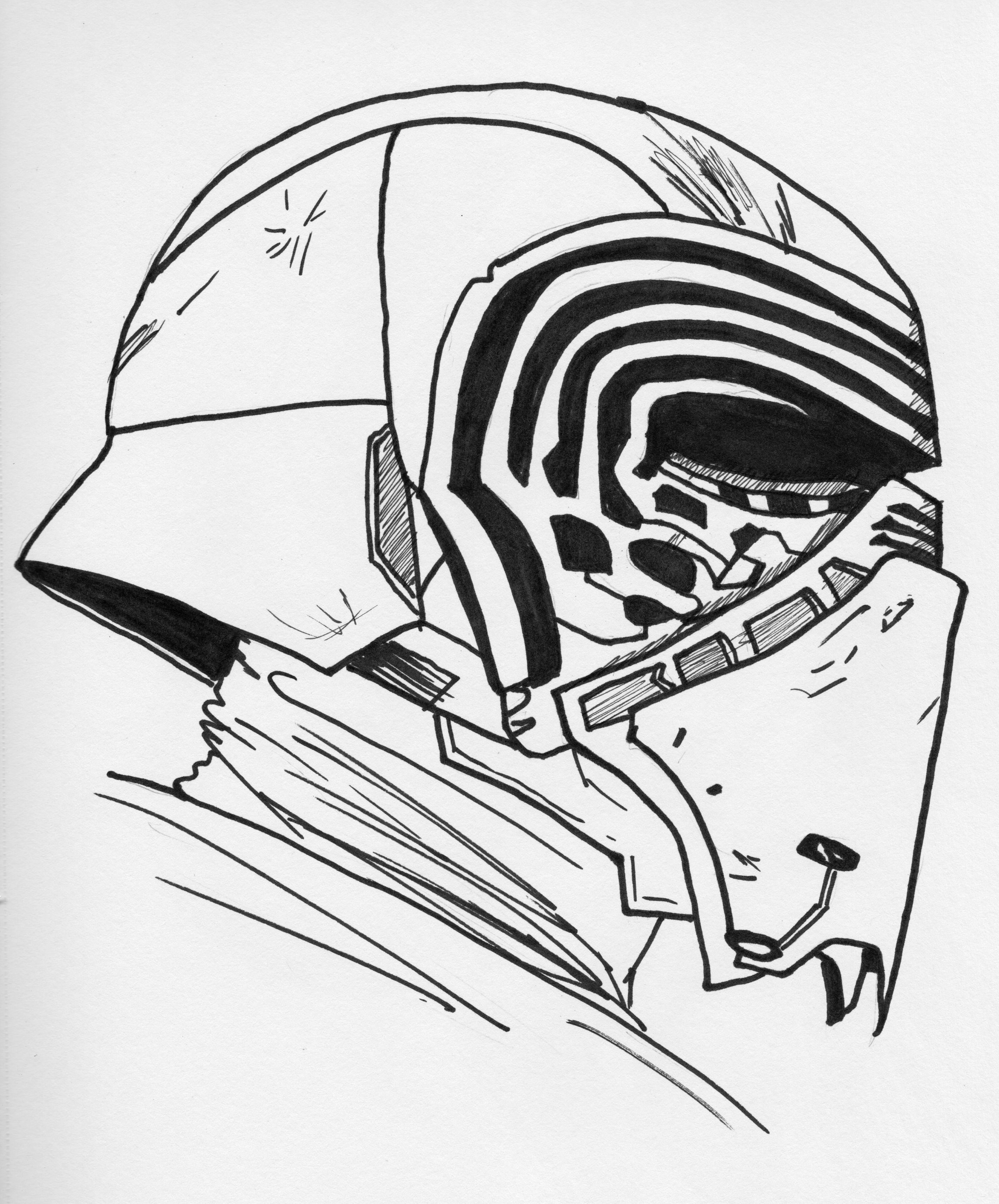 Kylo Ren Helmet Drawing At Getdrawings Free Download