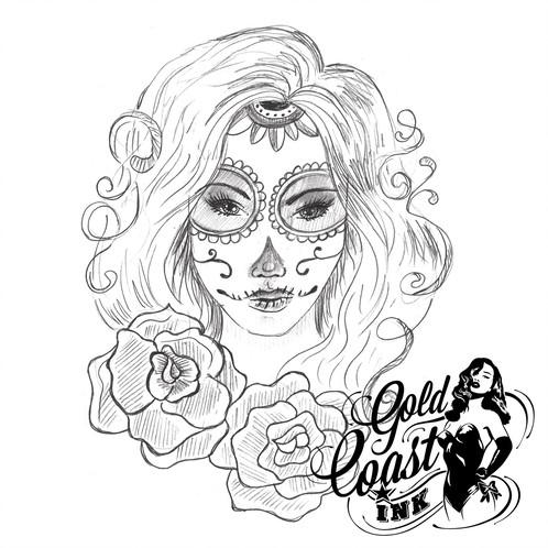 498x498 Temporary Tattoo Day Of The Dead Girl La Calavera Catrina
