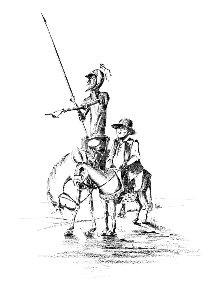 728x1000 Ingenious Gentleman Don Quixote Of La Mancha Pen Drawing