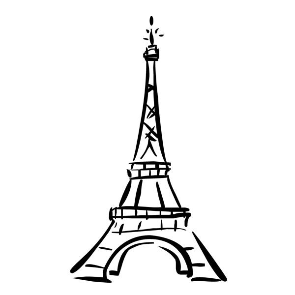 600x600 Cute Eiffel Tower Drawing Vinyl Wall Decal, Ah Paris Ohh La La