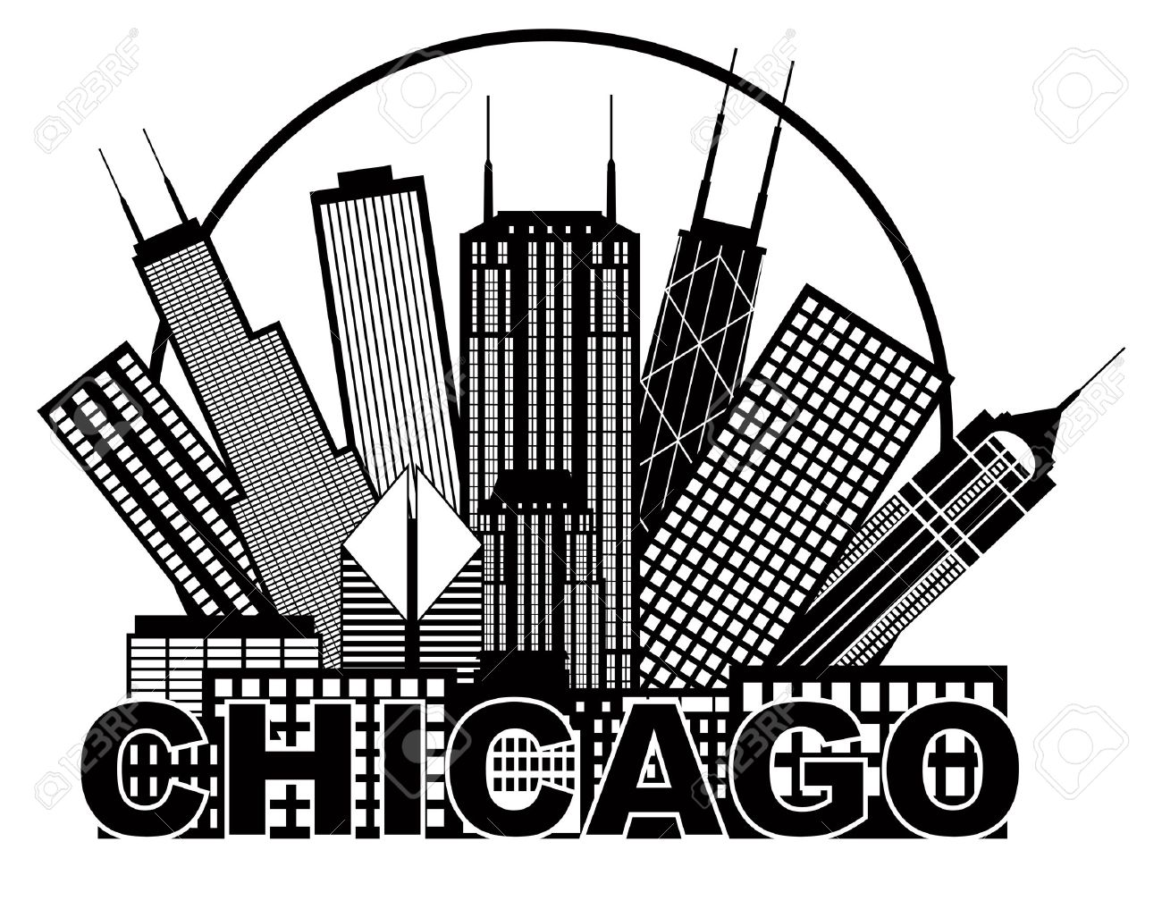 1300x1017 Chicago City Skyline Panorama Black Outline Silhouette In Circle