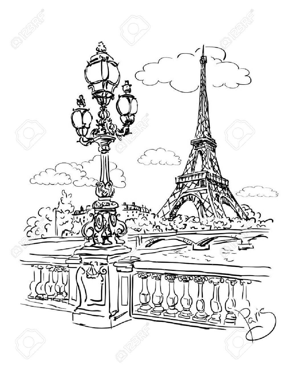 1039x1300 Vector Sketch Of A View Of The River Seine From The Eiffel Tower