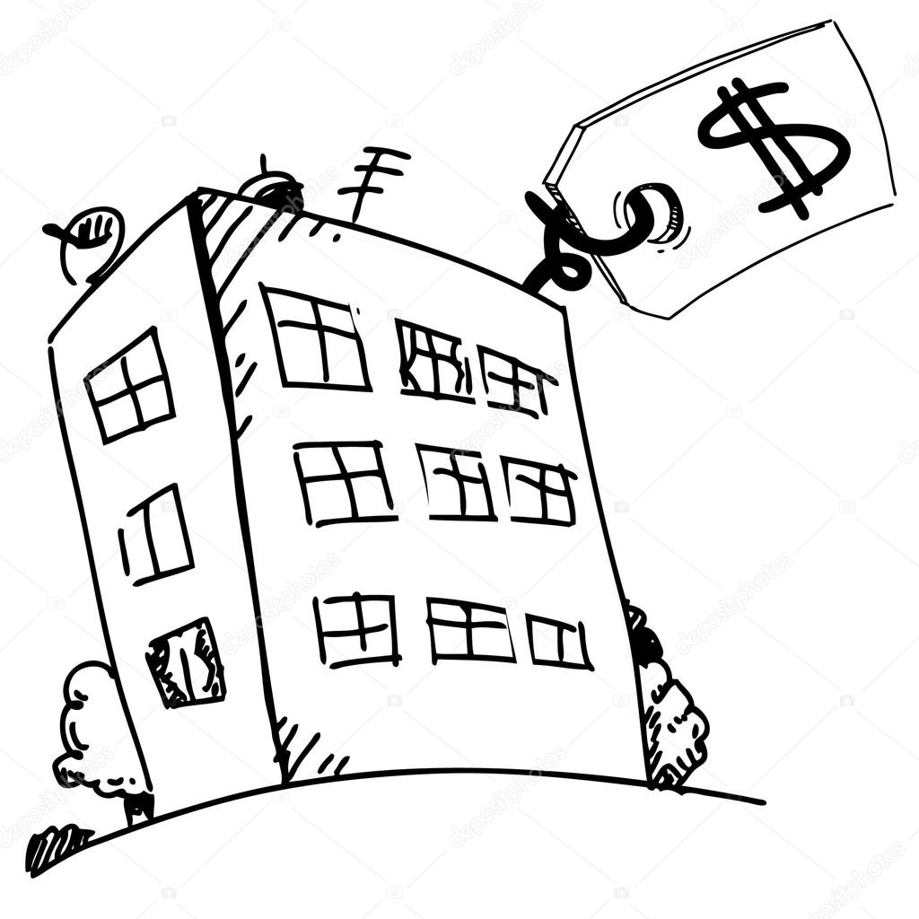 1024x1024 Block Of Flats With Sale Price Label In Cartoon Style. Stock