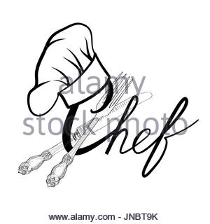 300x320 Chef Cook Hat With Fork And Knife Hand Drawing Sketch Label