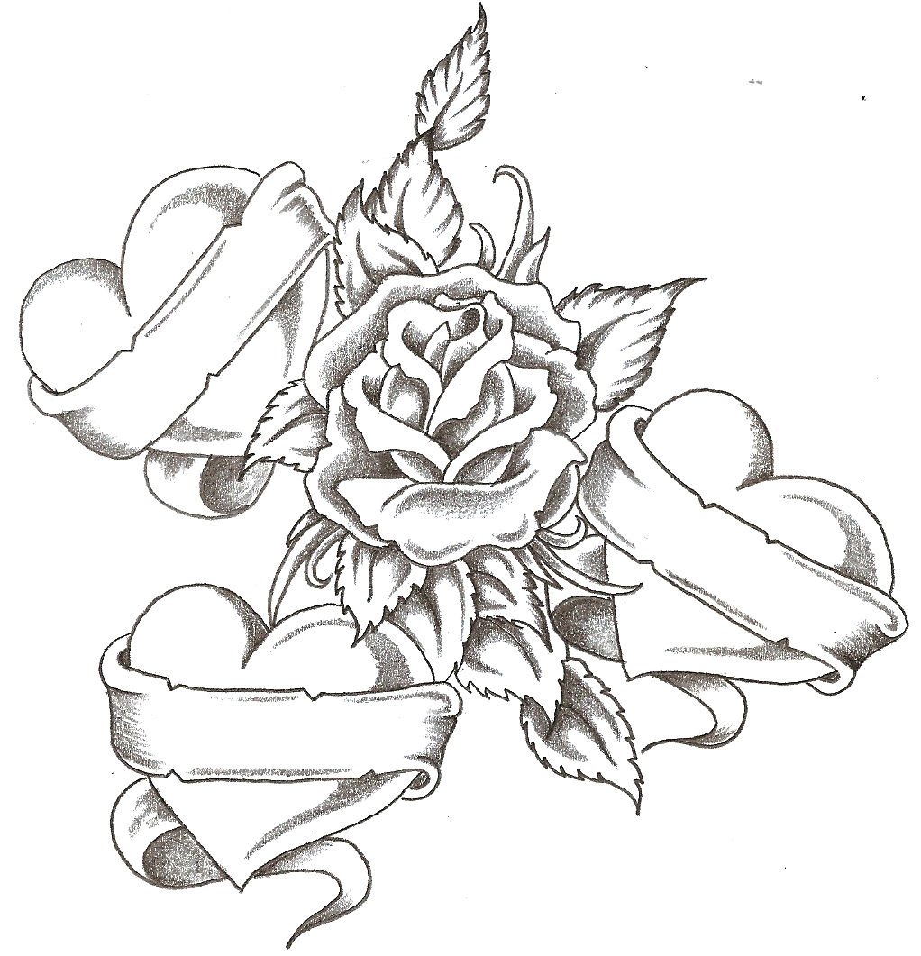 1022x1061 Heart And Roses Drawings