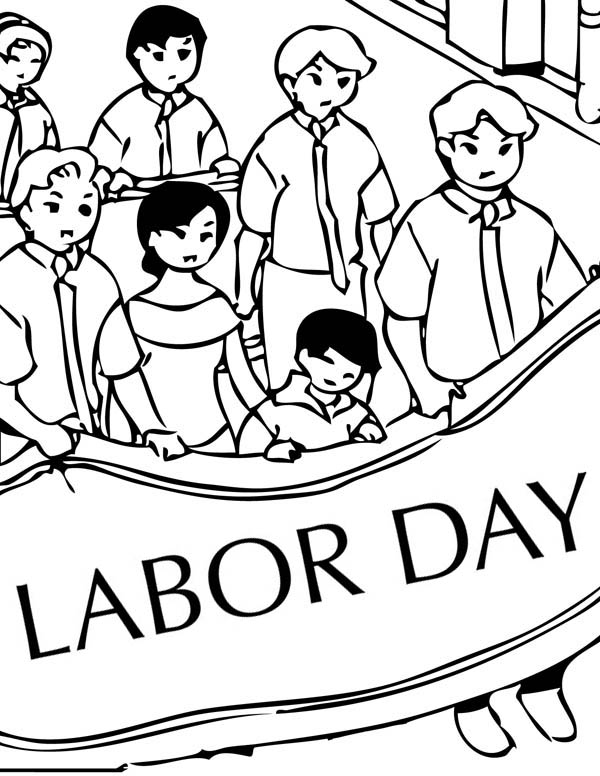 600x776 Peaceful Demonstration On Labor Day Coloring Page Color Luna