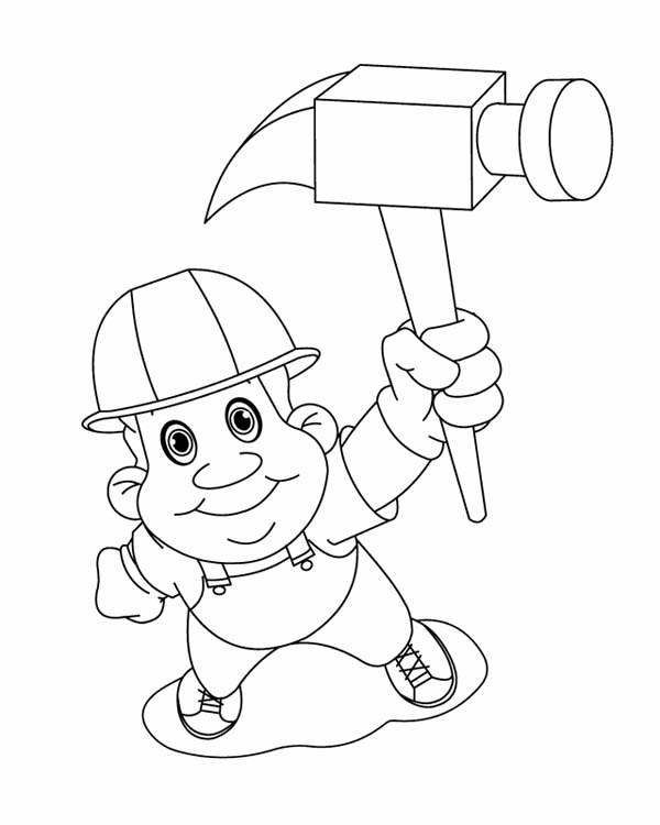 600x750 Construction Worker On Labor Day Coloring Page Color Luna