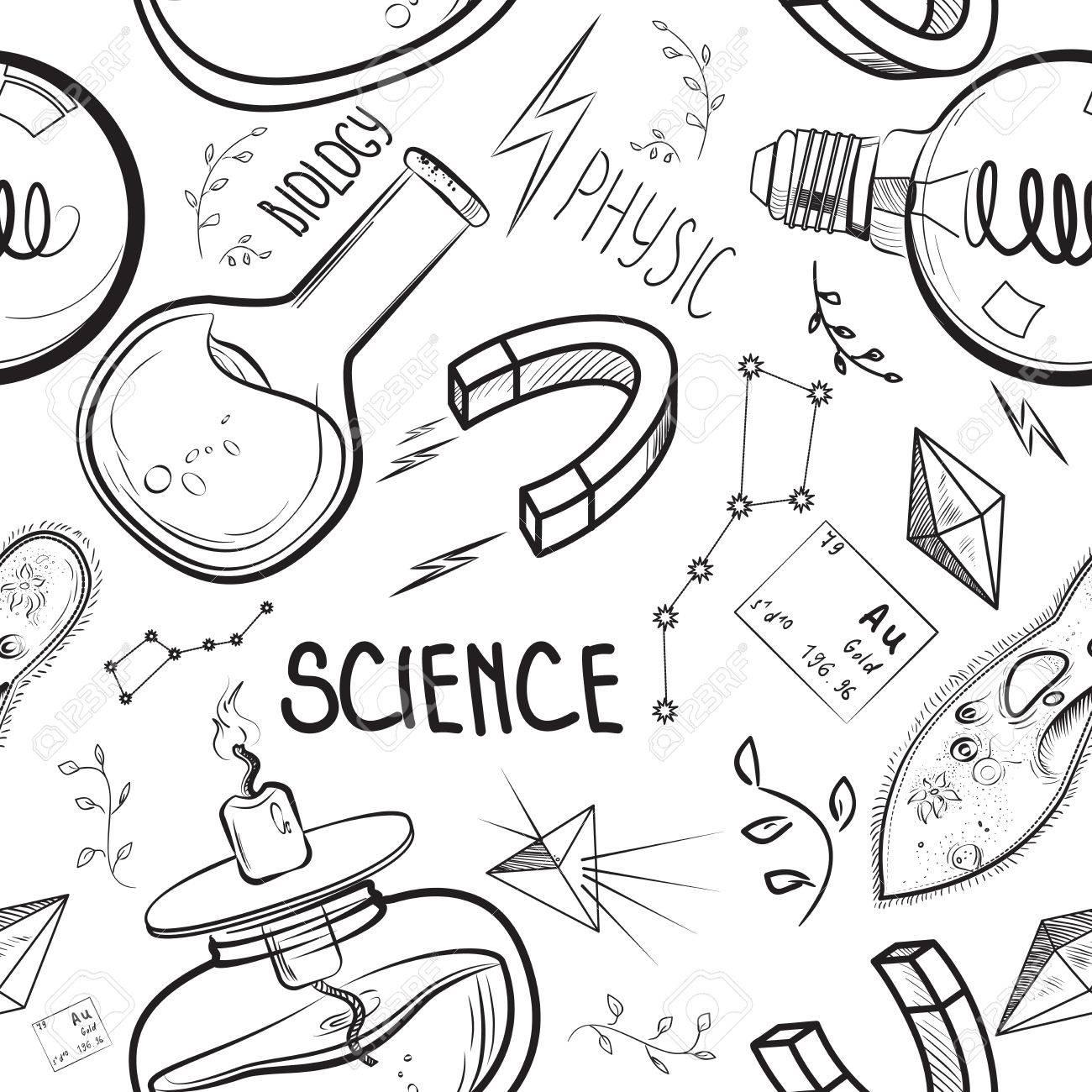 1300x1300 Hand Drawn Science Set. Sketch Elements. Laboratory Instruments
