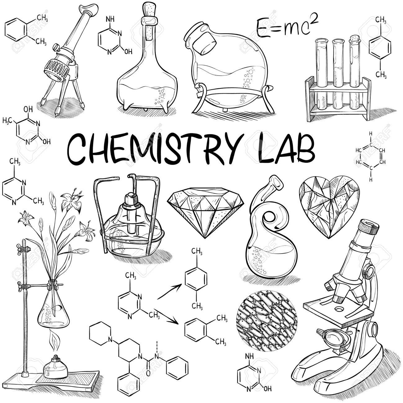 1299x1300 Hand Drawn Science Vintage Chemistry Lab Sketch Set Vector