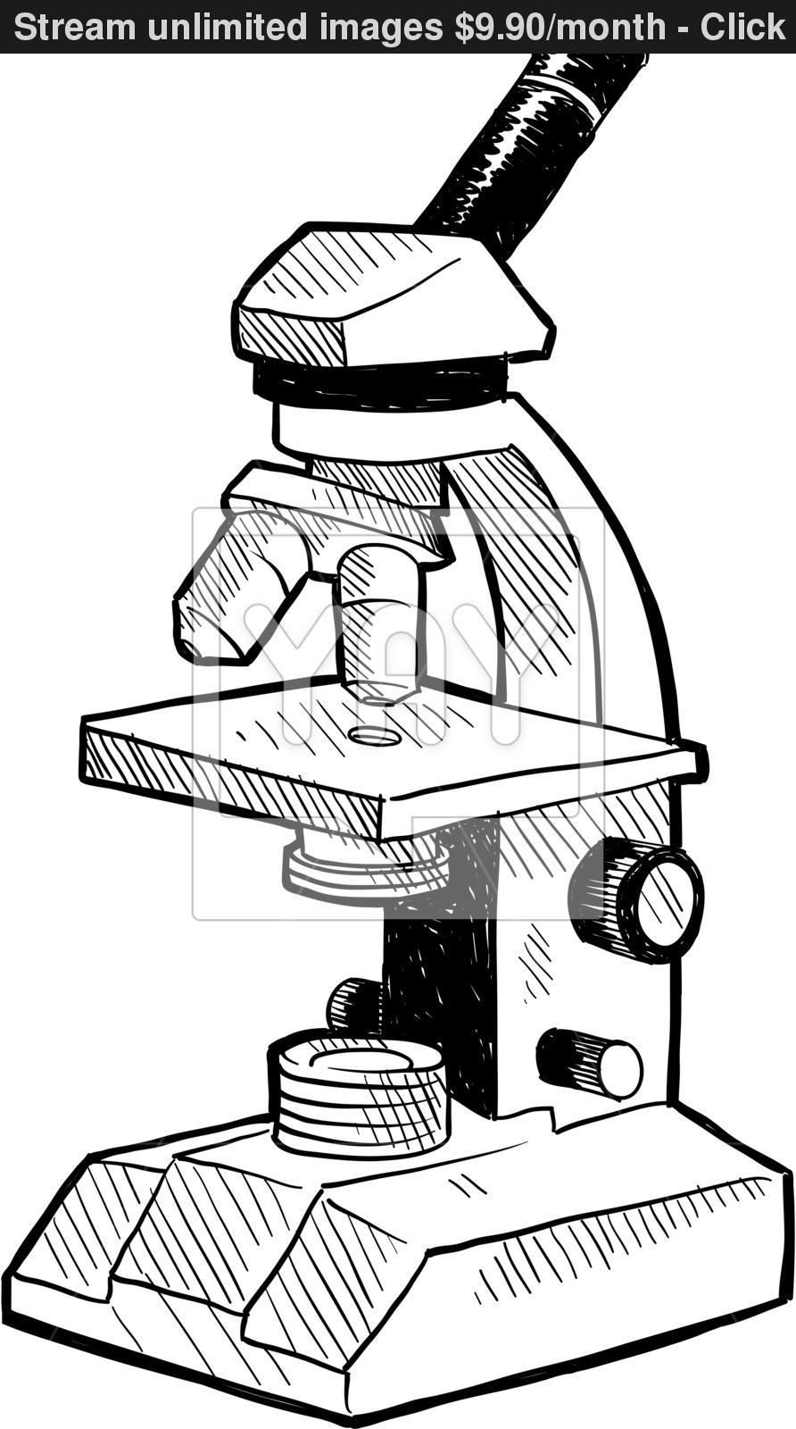 892x1600 Laboratory Microscope Sketch Vector