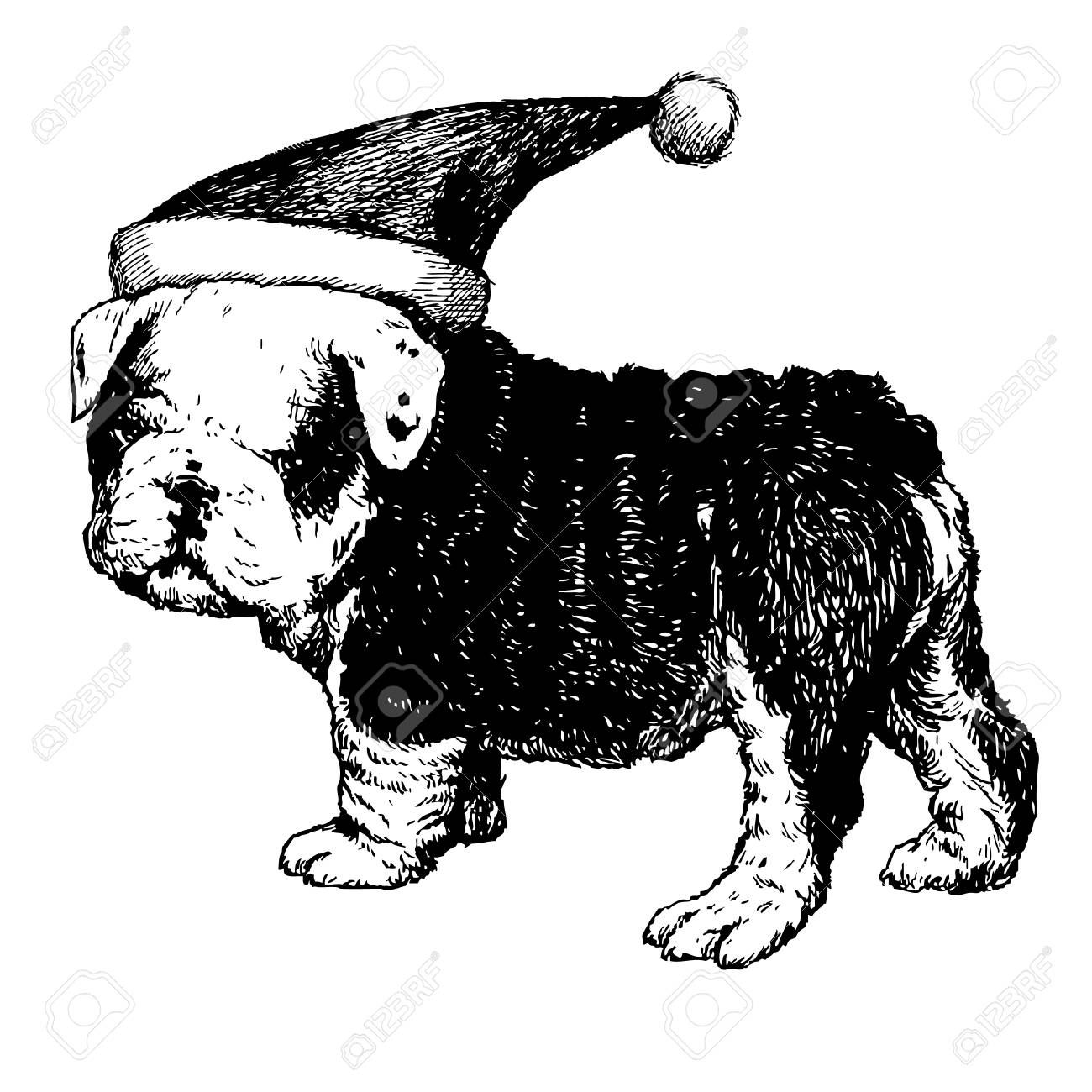 1300x1300 Freehand Sketch Illustration Of Bulldog Dog With Christmas Santa