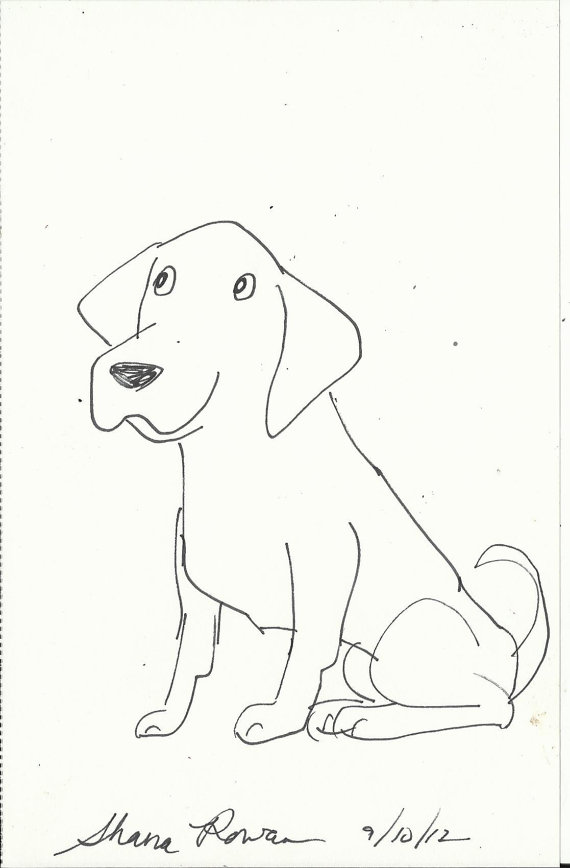 570x868 Labrador Retriever Original Dog Art Cartoon Caricature Labrador