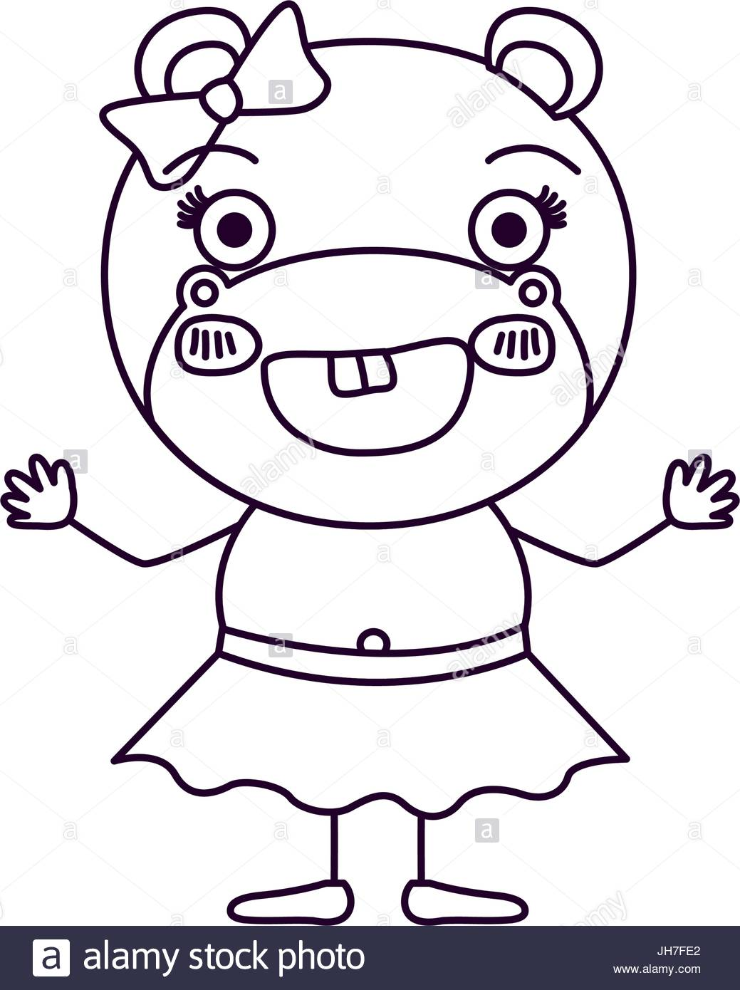 1039x1390 Sketch Silhouette Caricature Of Female Hippo In Skirt With Bow