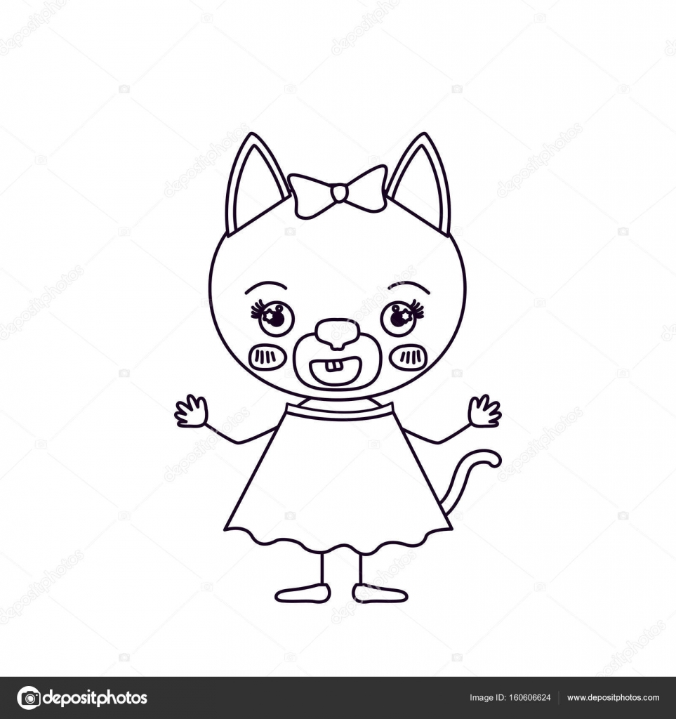 963x1024 Sketch Silhouette Cute Female Cat With Bow Lace With Happiness
