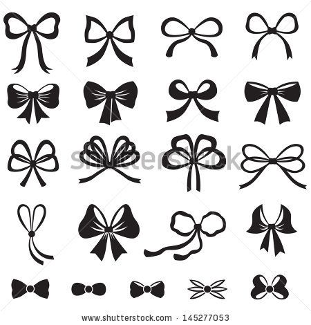 450x470 Stock Vector Black And White Silhouette Image Of Bow Set 145277053
