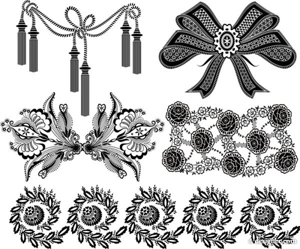 600x498 4 Designer Vector Black And White Patterns 05 Vector Material