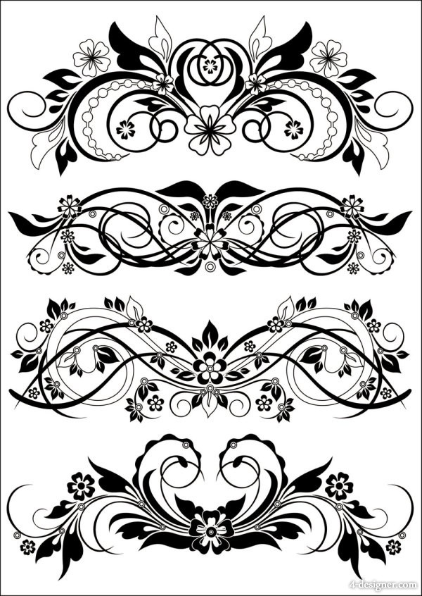 600x846 4 Designer Traditional Black And White Pattern Vector Material
