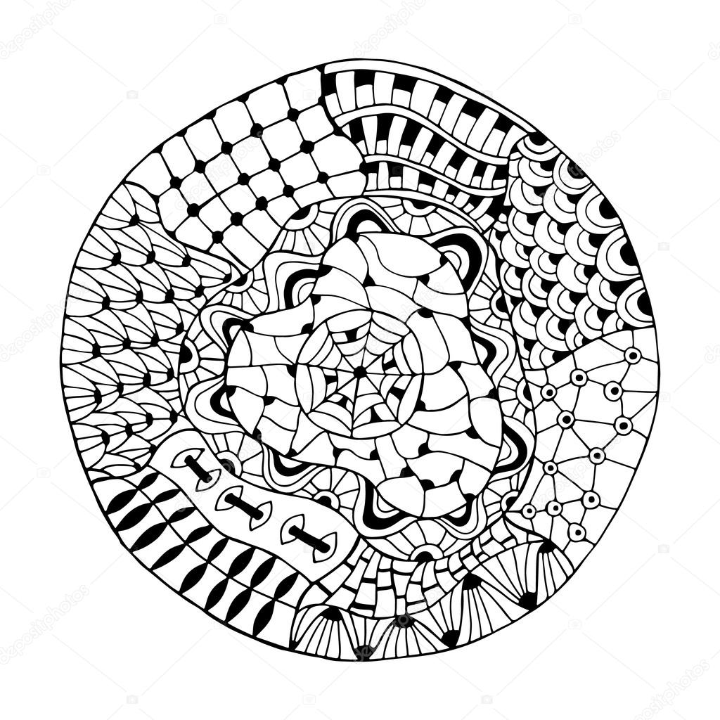 1024x1024 Hand Drawn Round Lace Ornament Stock Vector Maroshka