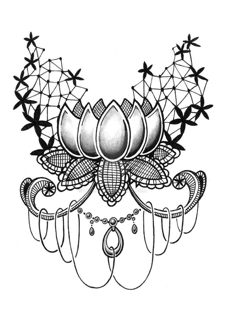 755x1057 Lace Lotus By Leelab On Drawing=tattoo