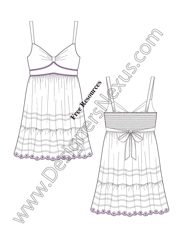 612x792 V13 Tiered Skirt Sundress Flat Drawing