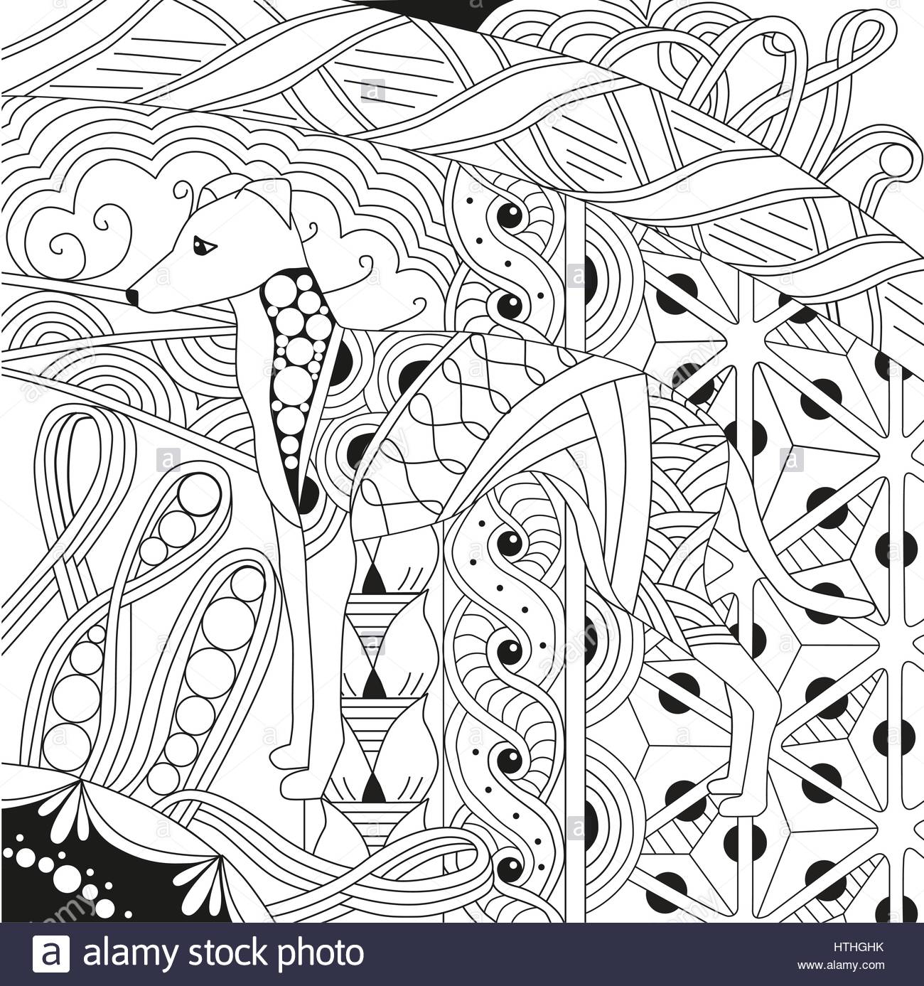 1300x1387 Zentangle Stylized Dog. Hand Drawn Lace Vector Illustration Stock