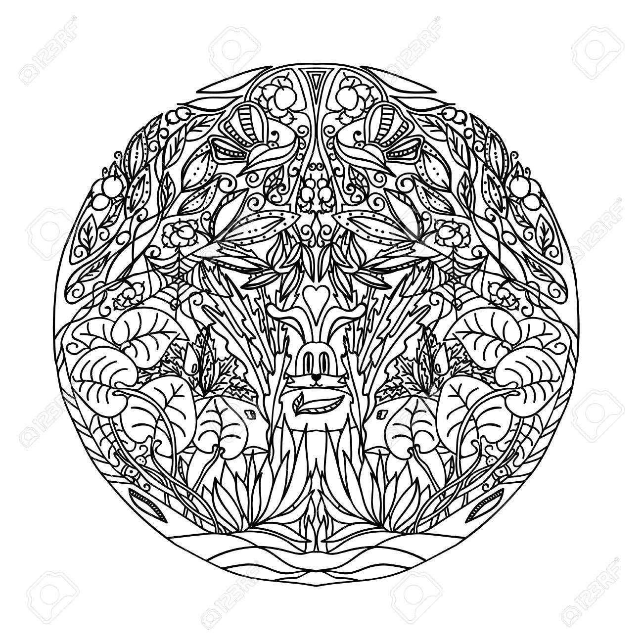 1300x1300 Black And White Circle Ornament Wild Forest, Ornamental Round