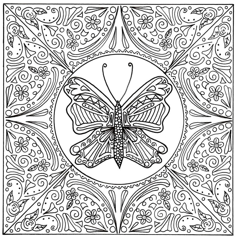 1000x1005 Butterfly Lace Mandala Adult Coloring Page Free Coloring Sheets