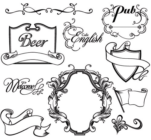 500x463 Lace, Corner, Line Drawing, Black And White, And Material Download