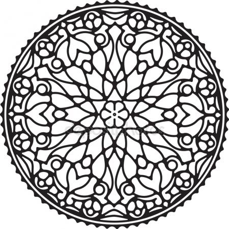 450x450 Circle Background. Ornamental Decorative Drawing. Vector Artwork
