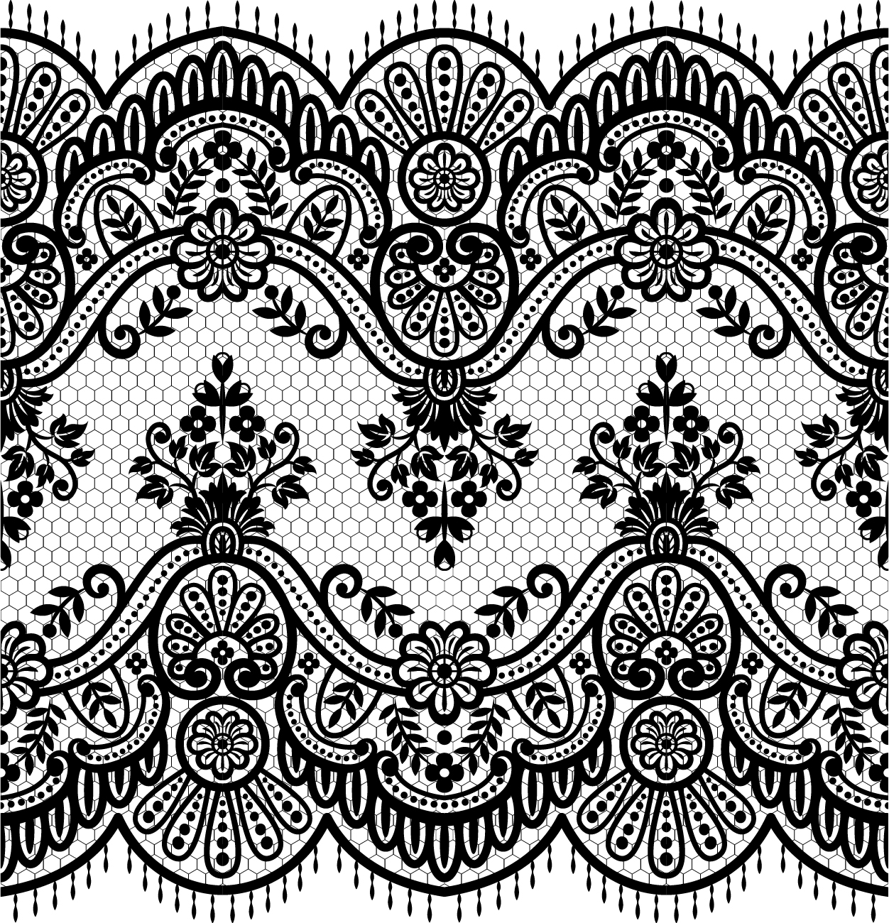 1252x1300 Lace Seamless Borders Vectors Set 01
