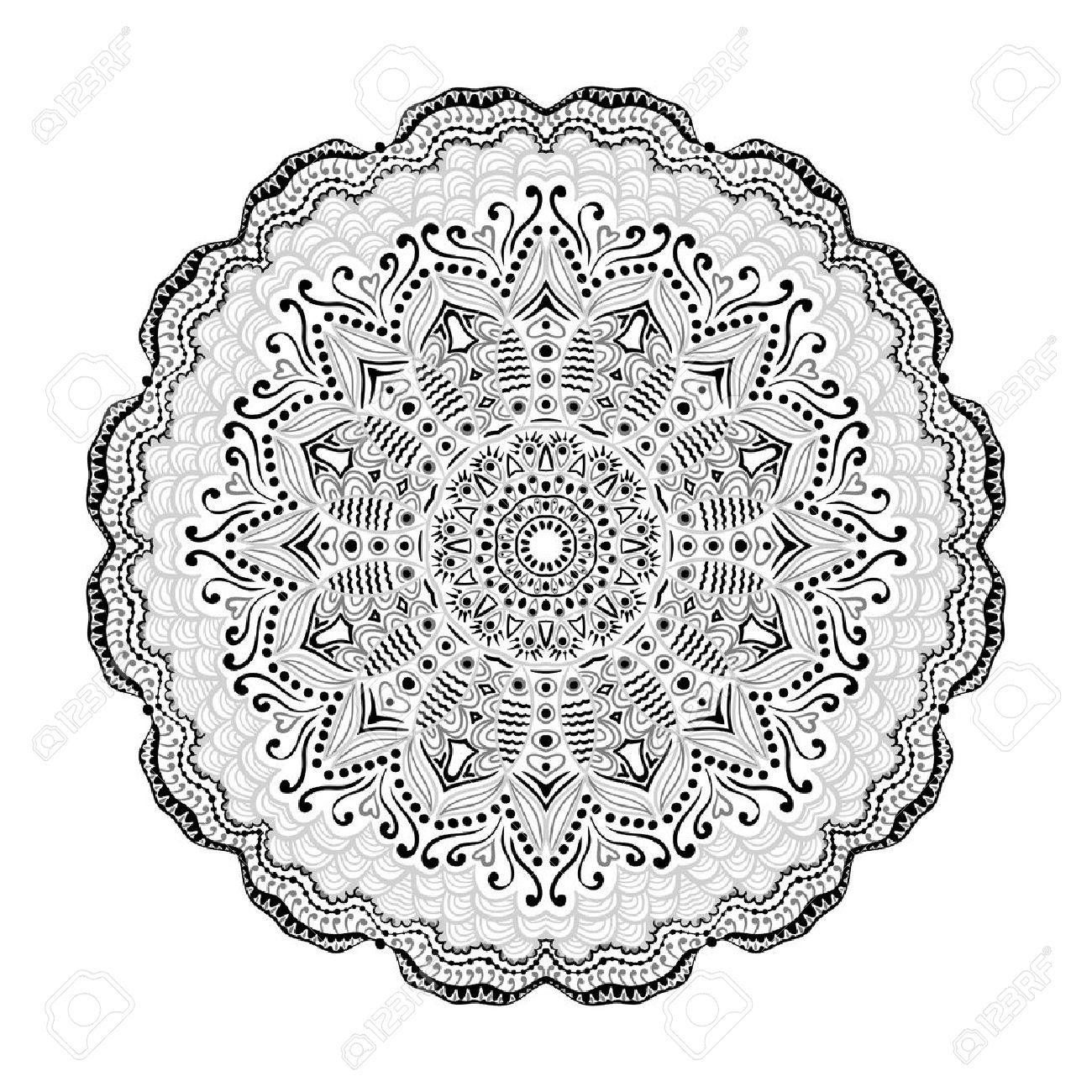 1300x1300 Ornamental Round Lace Pattern, Circle Background With Many Details