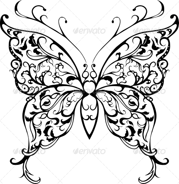 590x605 Pattern Lace Butterfly By Hipatia Graphicriver