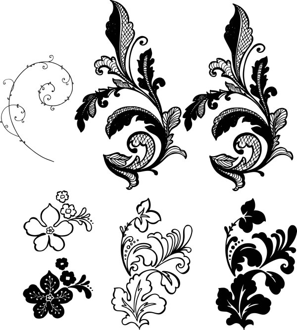 600x668 Side Flower Pattern Vector Background Material Stencils