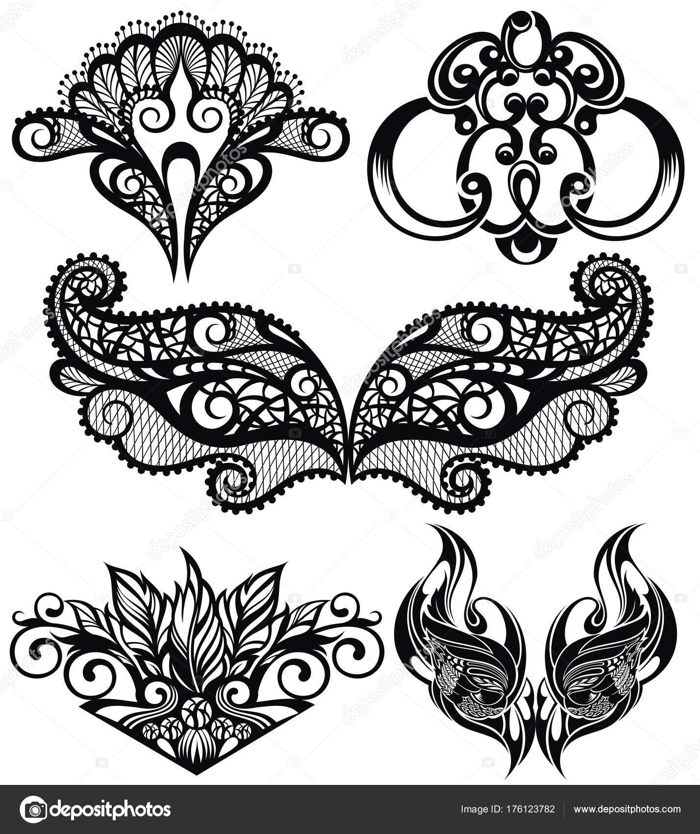 1428x1700 Vector Set Decorative Elements Collection Lace Patterns Stock