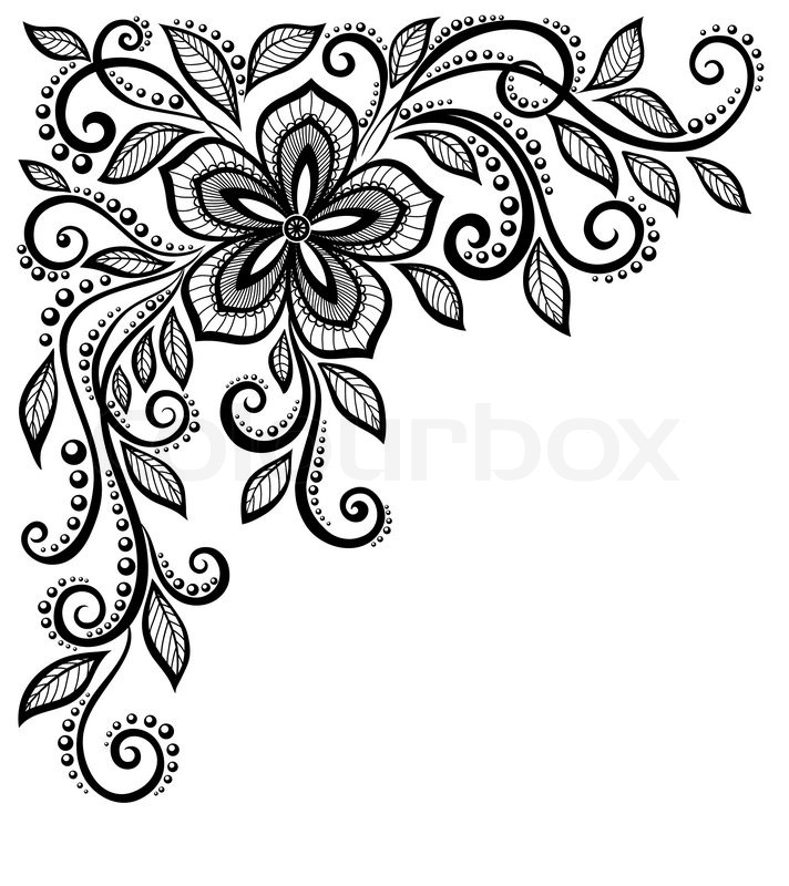 712x800 Beautiful Black And White Lace Flower In The Corner. With Space