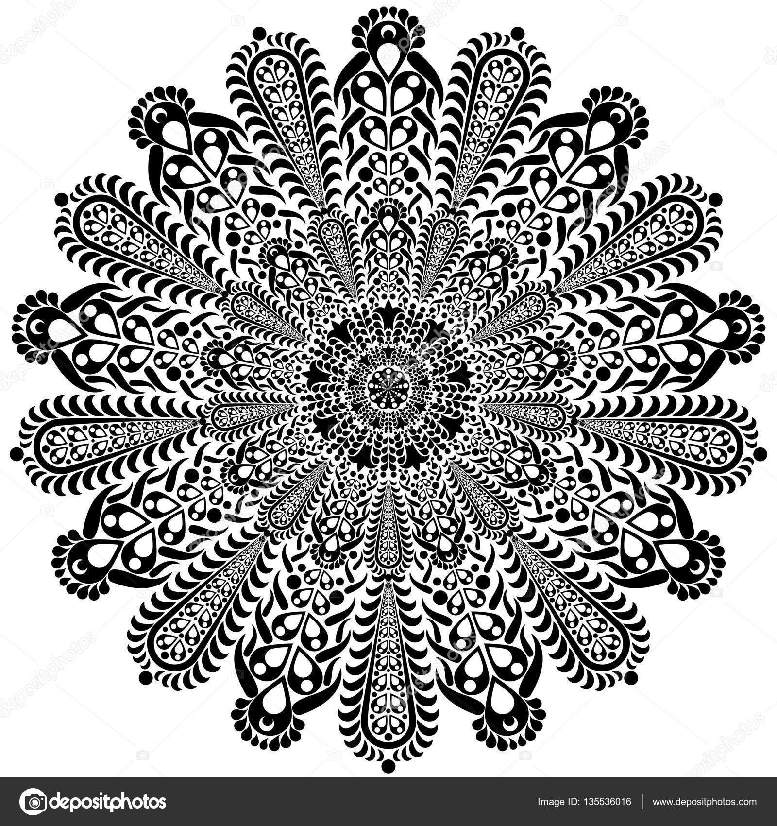 1600x1700 Black And White Round Circle Lace Pattern Mandala. Vector