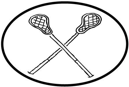 446x302 Lacrosse Sticks White Oval Magnet