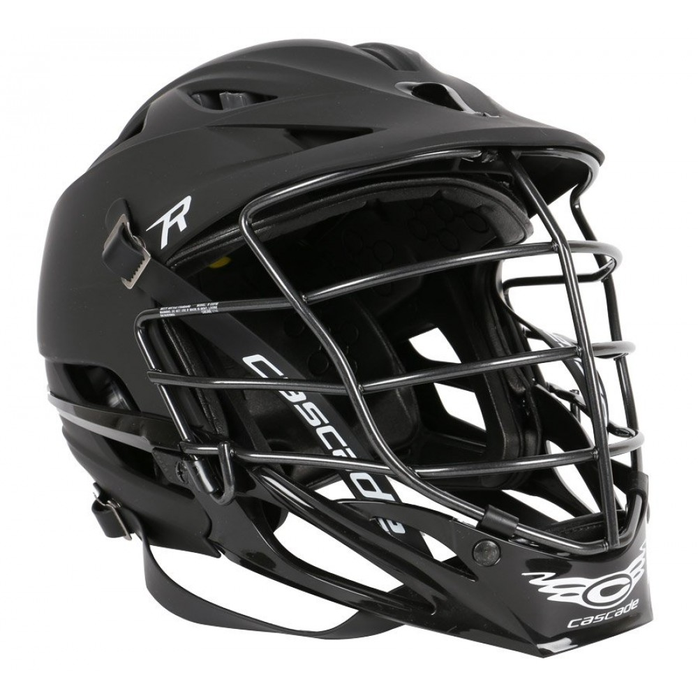 1000x1000 R Matte Black Lacrosse Helmet Black Cage