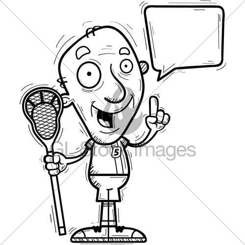 500x500 Cartoon Senior Lacrosse Player Talking Gl Stock Images