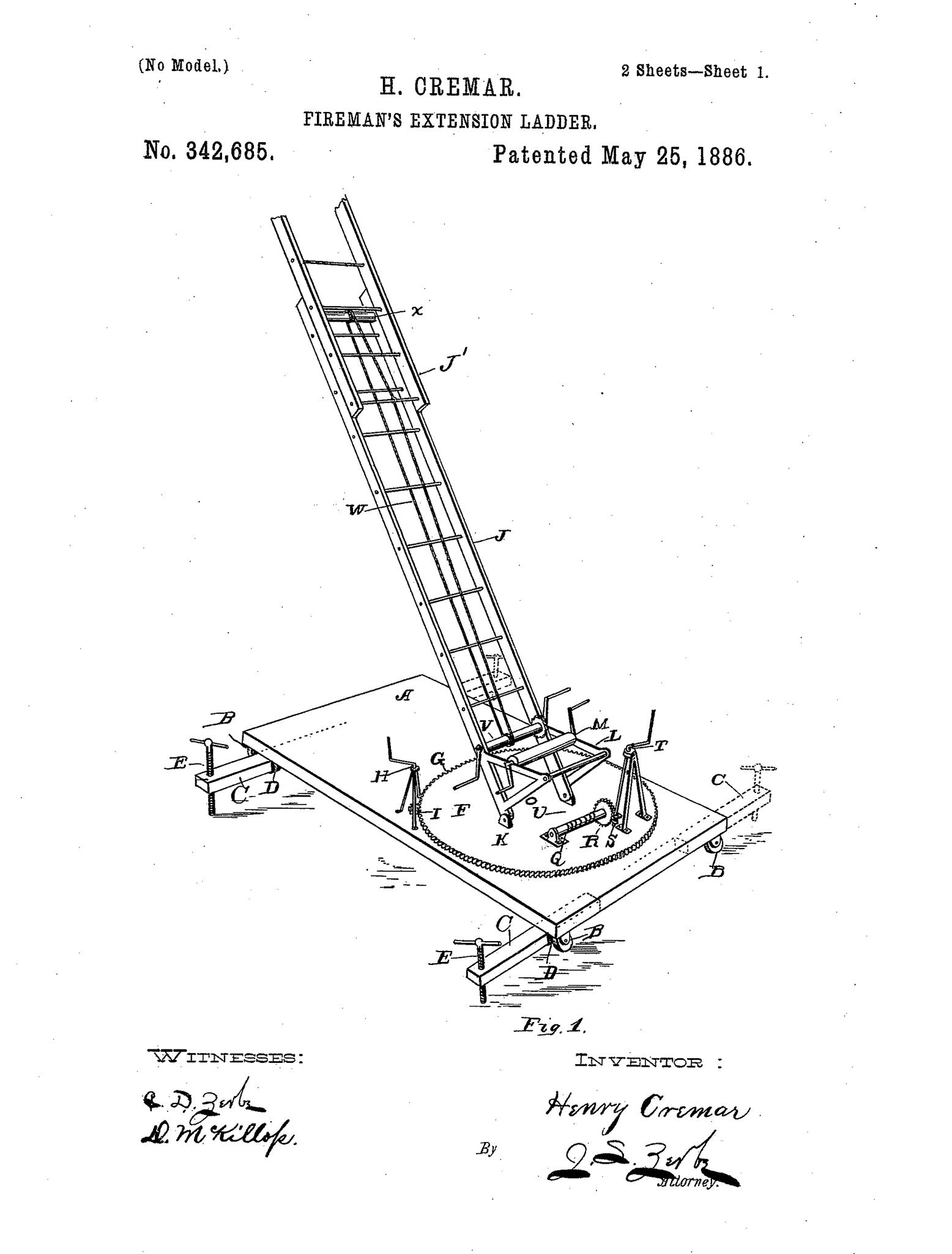 1556x2048 Original Patent Drawing Extension Ladder Firefighter Letter Art