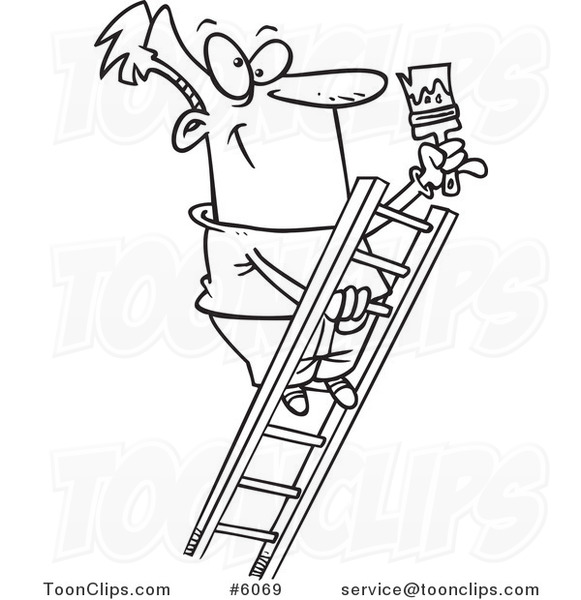 581x600 Cartoon Blacknd White Line Drawing Of Painter Climbing