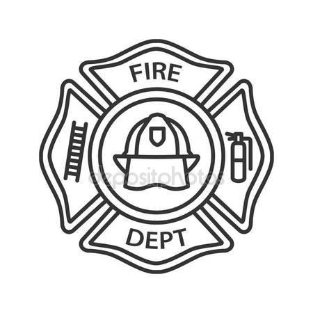 450x450 Fire Department Badge Linear Icon Firefighting Emblem Helmet