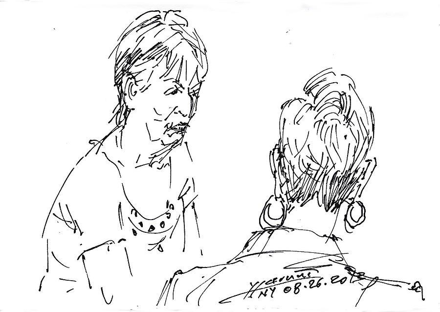 900x638 Ladies Chatting Drawing By Ylli Haruni