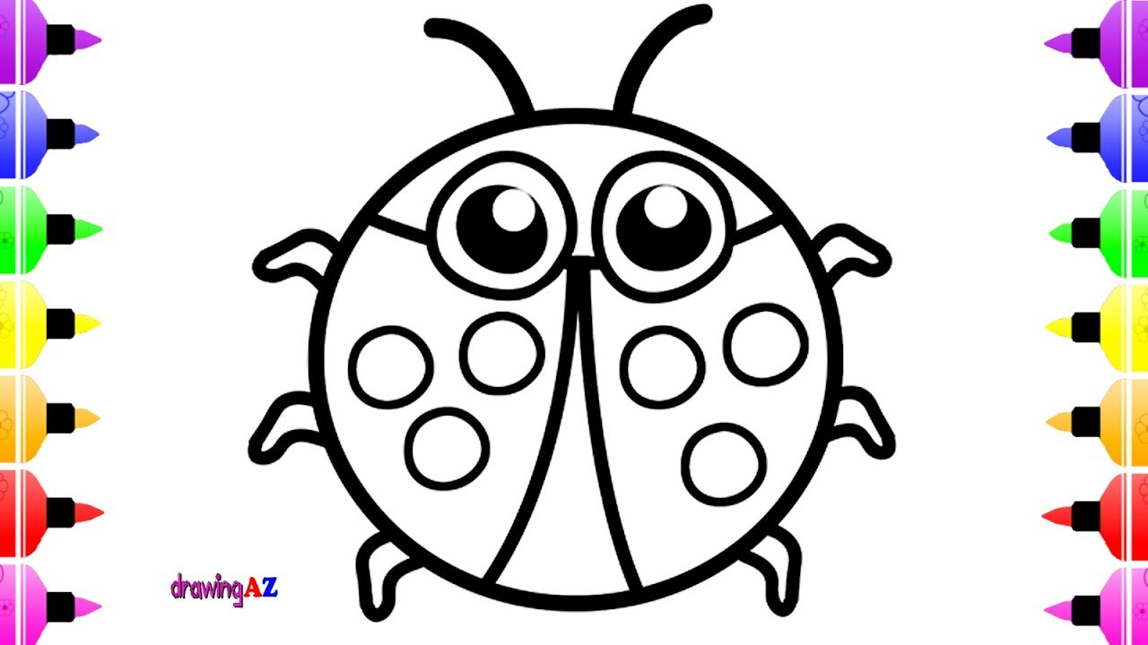 1280x720 How To Draw Lady Bug Children Amp Art Cute Coloring Book