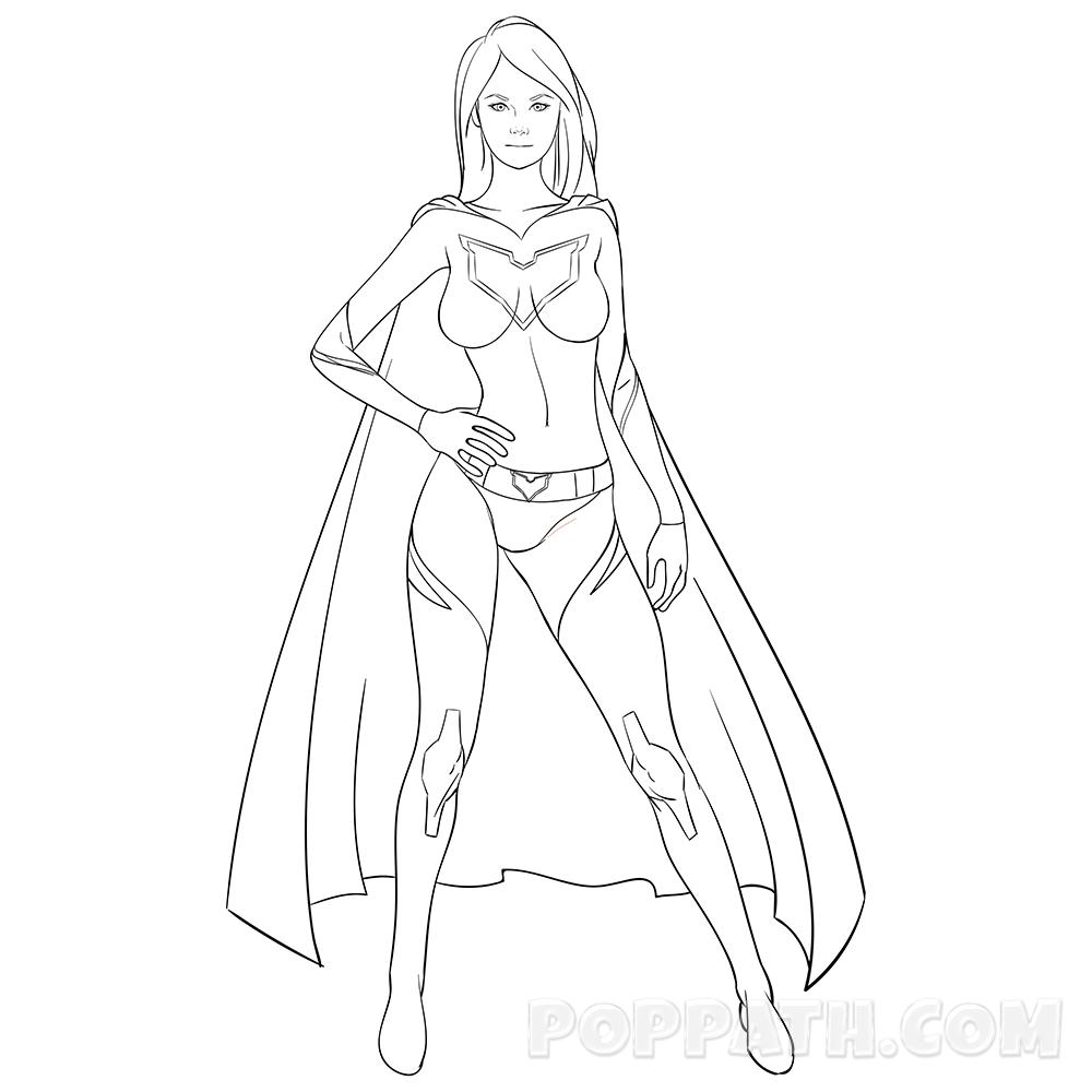 1000x1000 How To Draw A Super Lady Superhero Pop Path